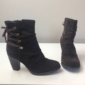 Clark's Brown Suede Heeled Booties lace Up Back